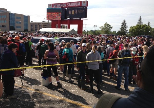 Volunteers showed up in droves at McMahon Stadium.