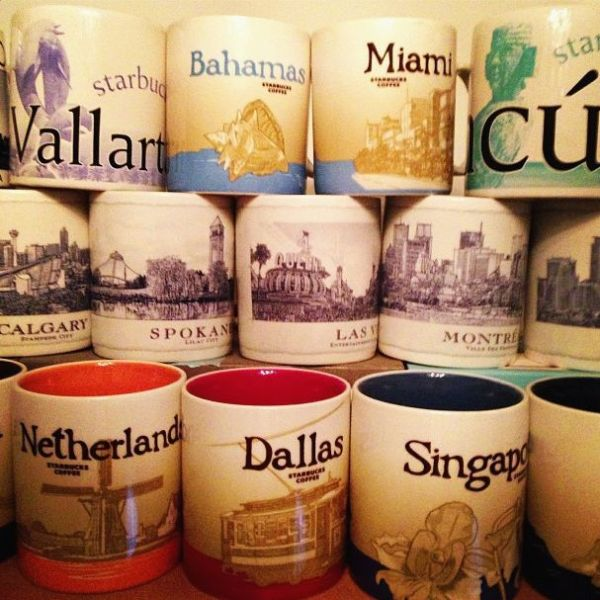 Just a fraction of my mom's Starbucks mug stash.