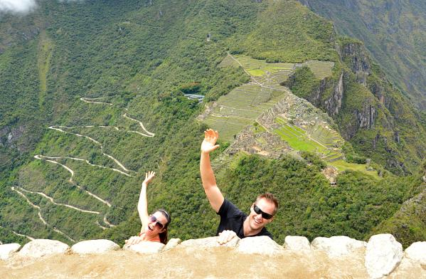 Hamming it up on a ledge that looks like the edge of the world.