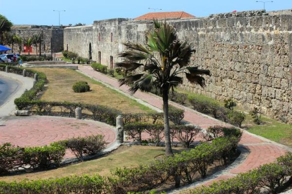 Stone walls surround the historic centre.