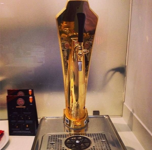 The draft beer tap in the Avianca lounge.