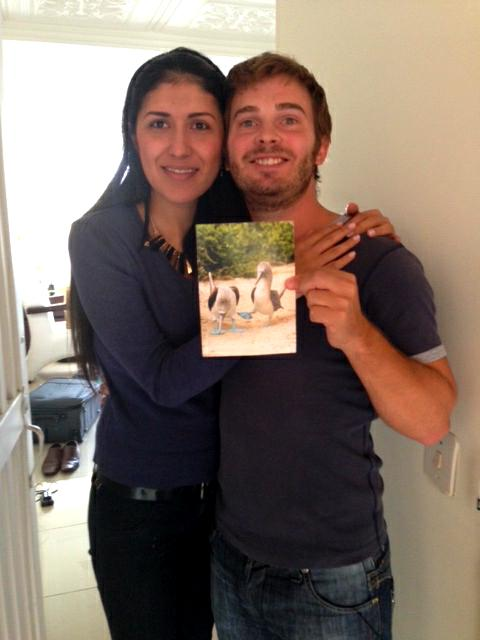 The happy couple, with a pristine postcard!