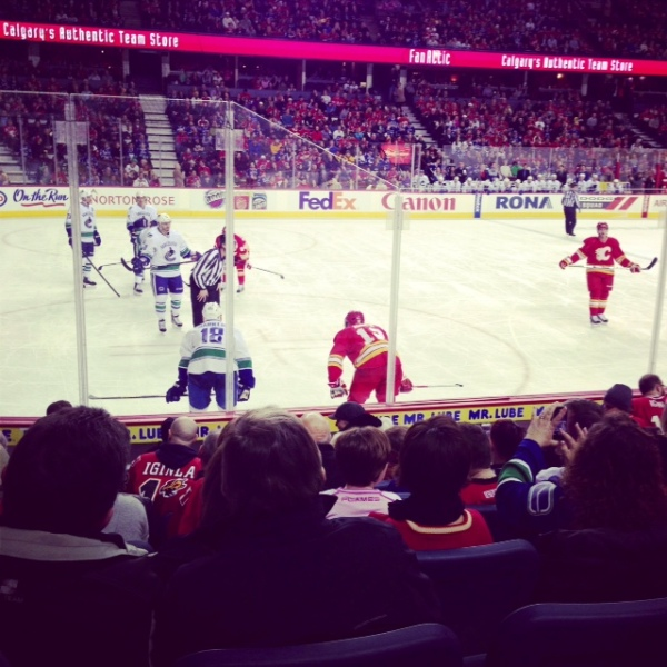 An NHL game between the Calgary Flames and Vancouver Canucks.